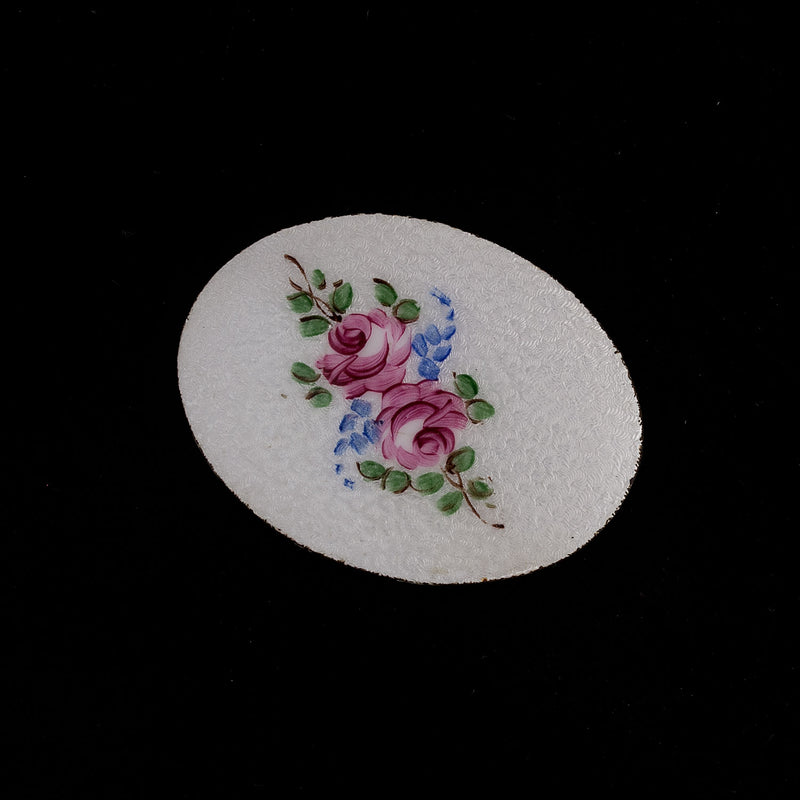 Antique Victorian hand painted Guilloche enamel on steel oval disk 55x41mm. b14-681