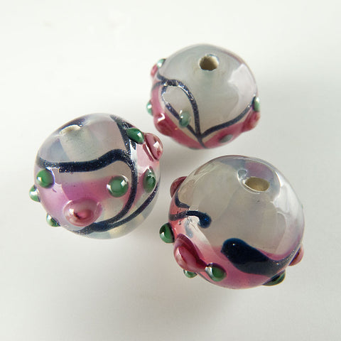 Contemporary Czech lampwork beads. Very light mint opaline with rosebuds. 10mm 1 pc.  b1-488