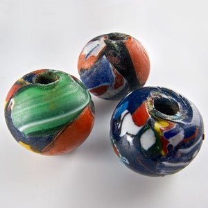 Vintage, Venetian-Style Millefiore Glass Rounds from India. Package of 4.  b1-495