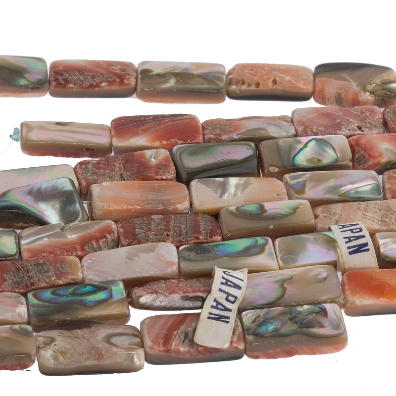 Rare vintage orange natural abalone shell rectangle beads. 19x8x5mm. 15 inch strand. b15-aba412