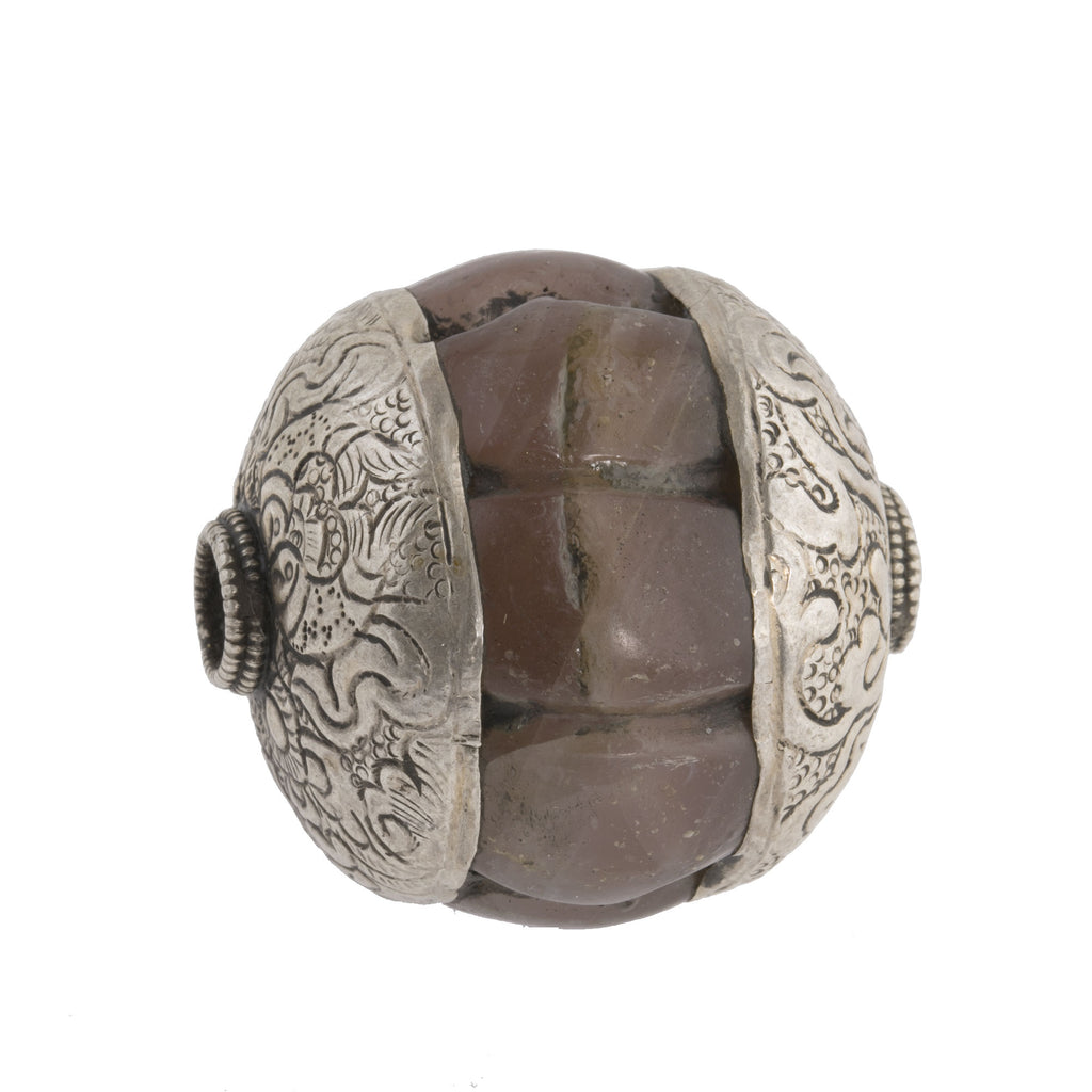 Antique Tibetan large carved agate melon bead with sterling silver repoussé caps. 36x22mm  B4-aga258