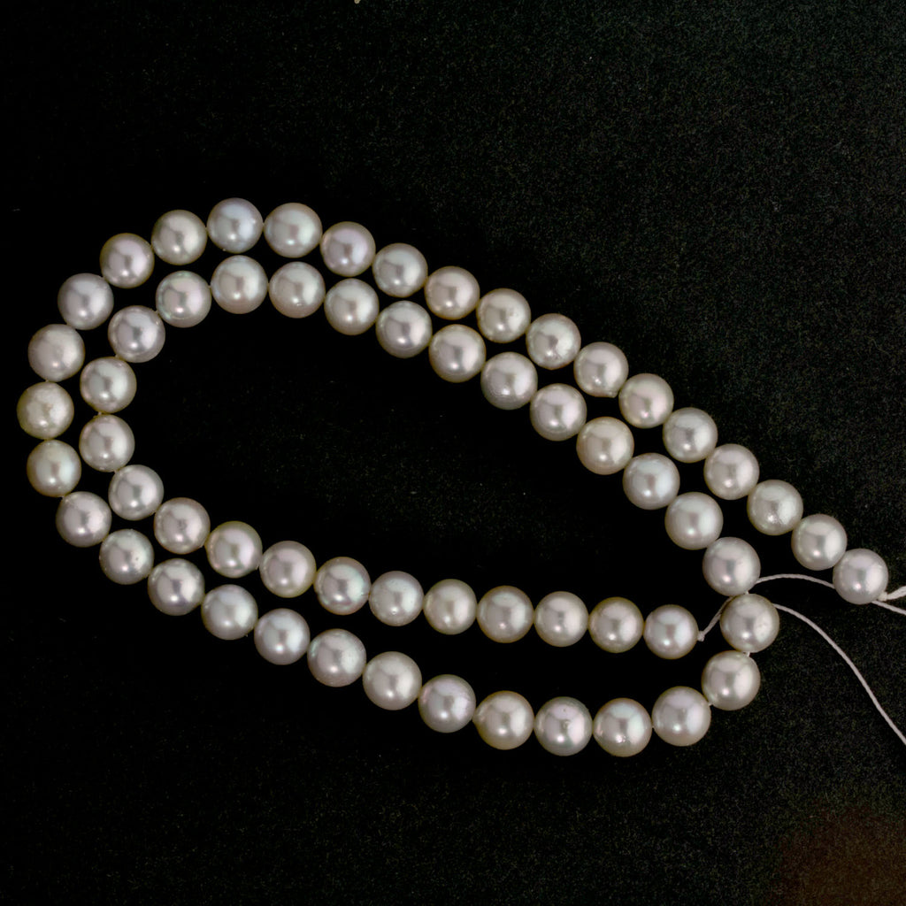"Vintage 16"" strand of Japanese Akoya 8mm silver pearls AAA."