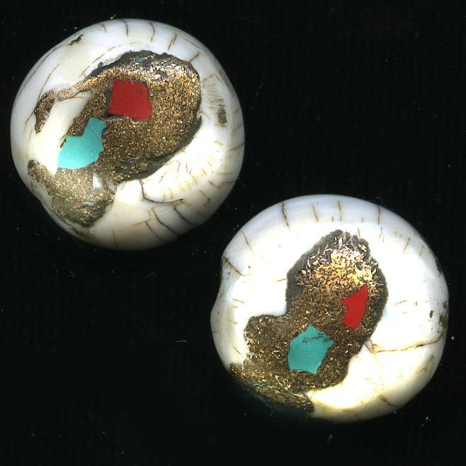 Nepali handcarved conch shell beads with inlay.14x6mm. Pkg of 2 b15-she299(e)