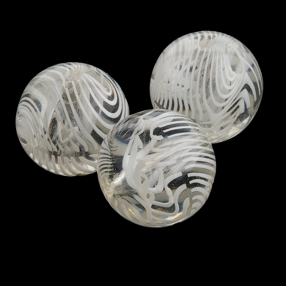 Vintage Venetian lampwork clear with zebra stripes, 13mm, sold individually. b1-604
