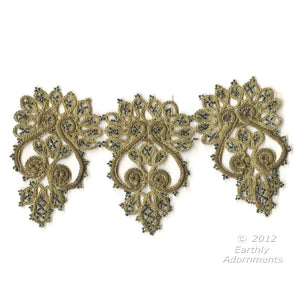 "B16-104-Antique hand made beaded and braided embellishment. Each embellishment measures 7.5""x4"""