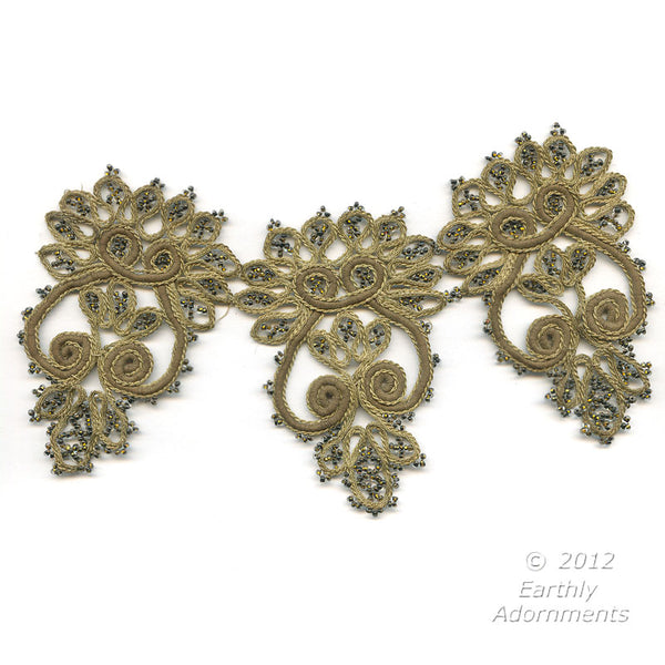 B16-104-Antique hand made beaded and braided embellishment. Each embellishment measures 7.5