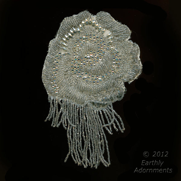 B16-105-Vintage beaded appliqués with fringe. 3.5