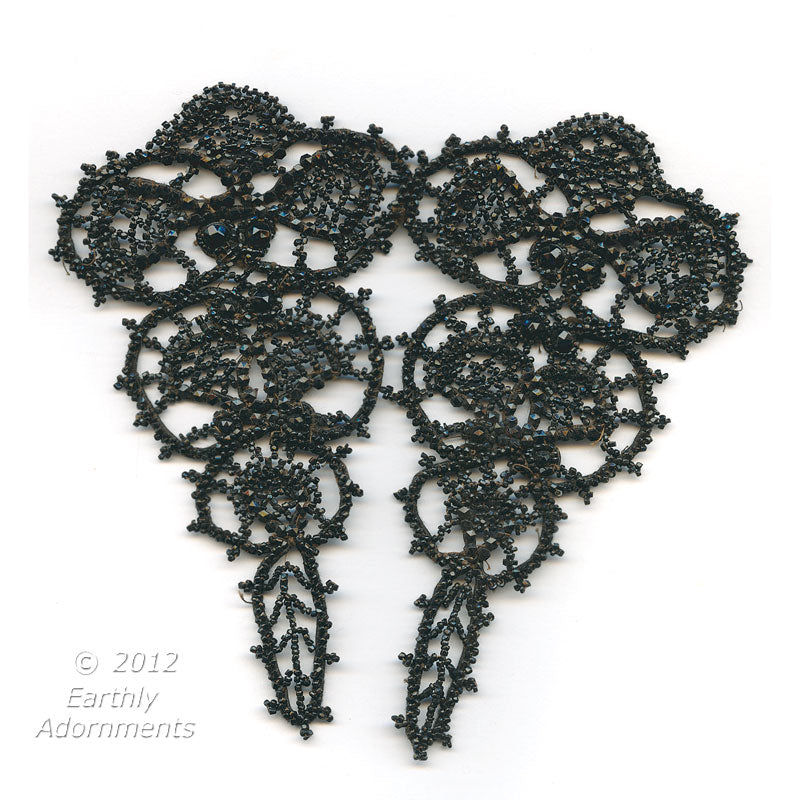 "b16-106-Vintage jet glass beaded lace ornament, early 20th century. 6.5"" x 6.5"""