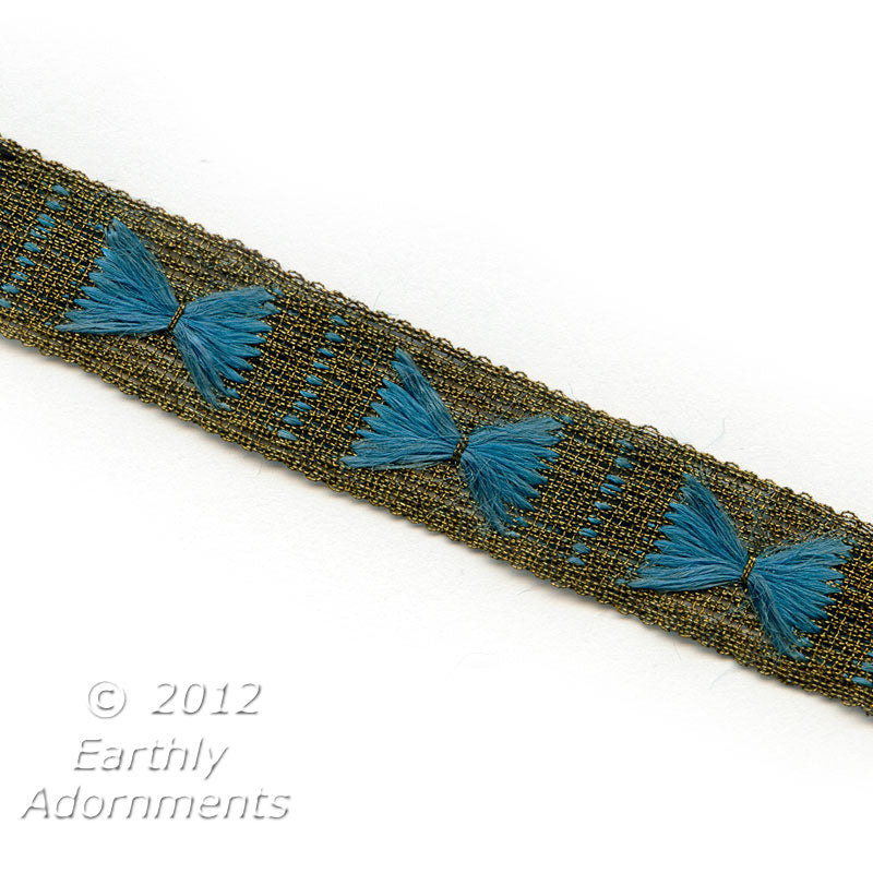 b16-112-Art Deco gold woven trim, ¾ inch wide with hand embroidered silk triangles. Sold by the foot