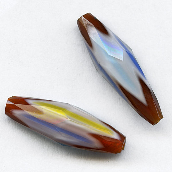 Vintage Chinese hand faceted 3-layer chevrons lengths vary from 20-29mm. Sold individually. b1-617a(e)