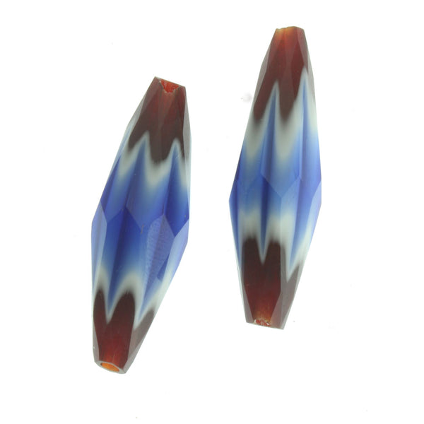 Vintage Chinese hand faceted 4-layer chevrons lengths vary from 24-29mm. Sold individually. b1-617b(e)
