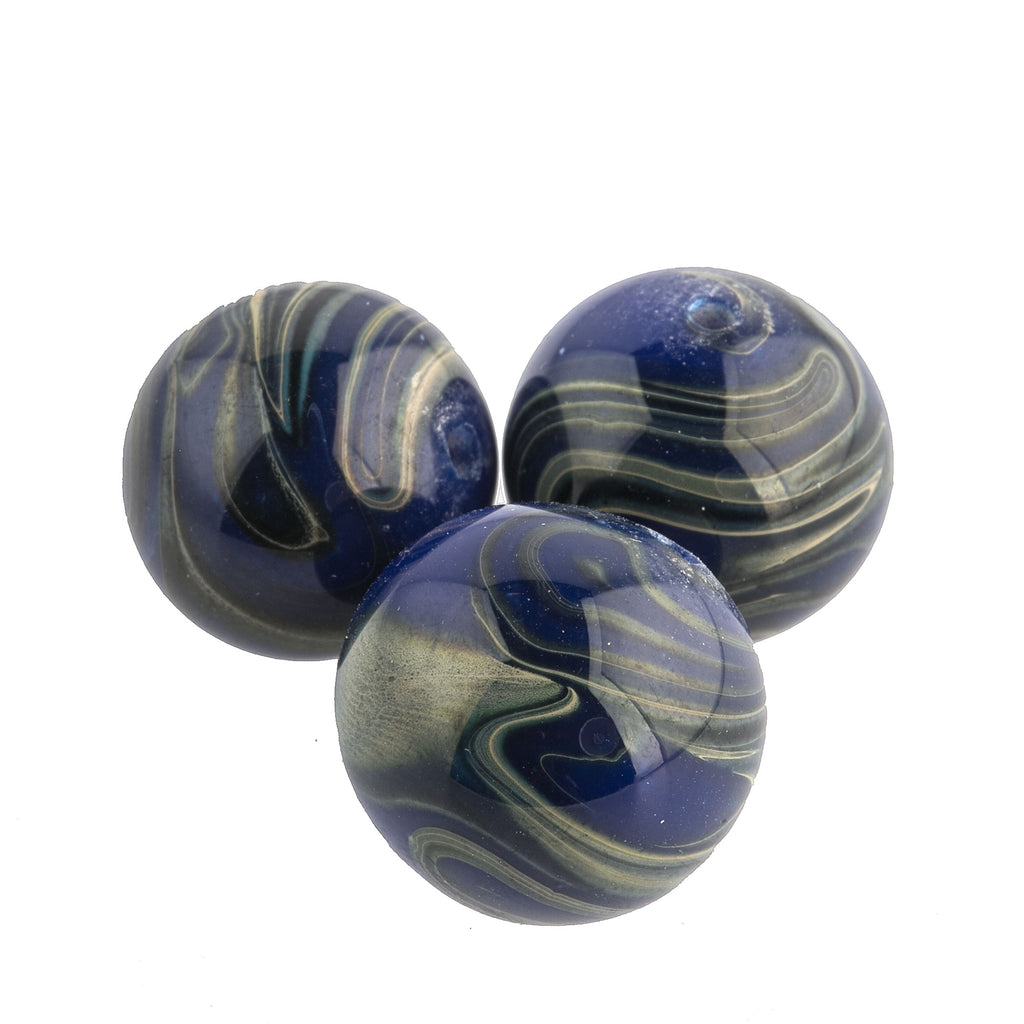 Vintage Japanese blue and grey lampwork swirling marble rounds. 14mm. Pkg of 1. b1-643(e)