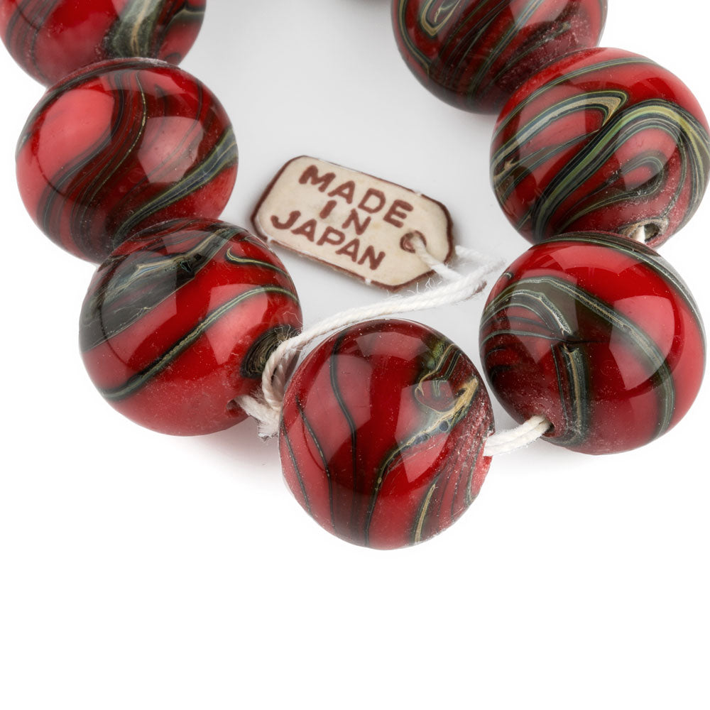 Vintage Japanese grey and red lampwork swirling marble rounds, 15mm, pkg of 1. b1-646(e)