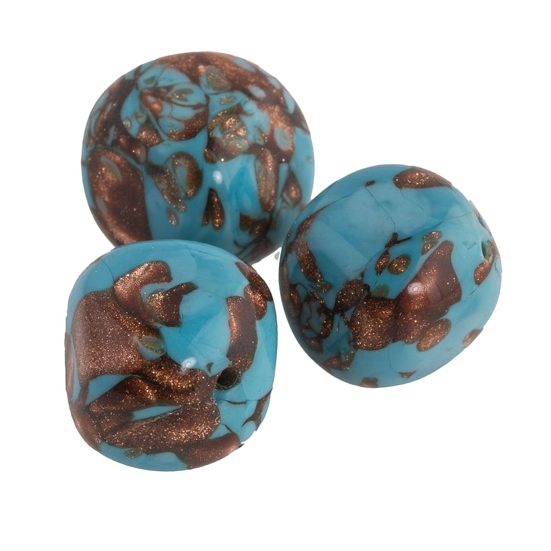 Venetian turquoise lampwork bead with aventurine c1950 15x16mm. Pkg of 1. b1-649(e)