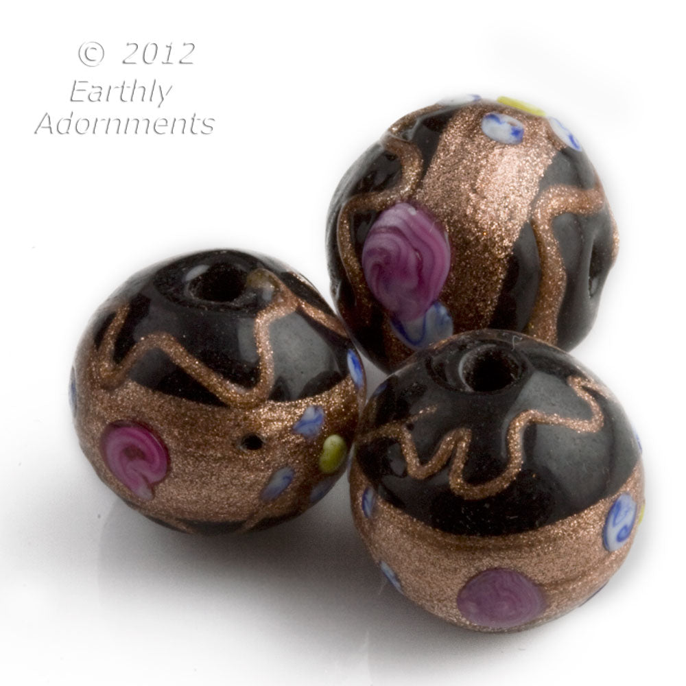 Old Venetian black and pink wedding cake beads c. 1950s, 14x16mm, sold individually. b1-650(e)