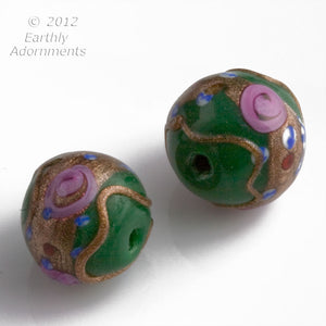 Old Venetian green and pink wedding cake beads c. 1950s, 14x16mm, sold individually. b1-652(e)