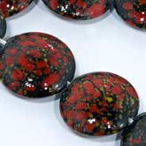 Old Japanese red, black and grey green lampwork disks, 22x6mm, sold individually. b1-658(e)