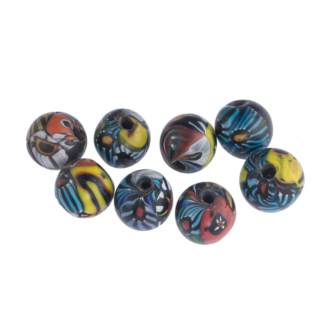 Vintage Venetian style millefiore round beads. India, 16mm, pkg of 2. b1-679