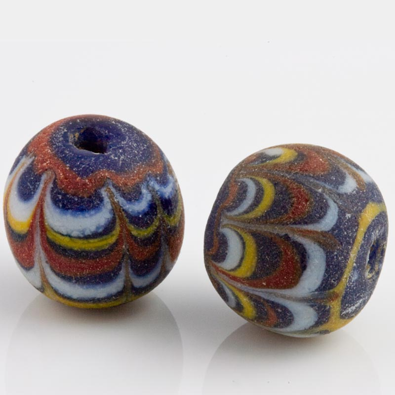 Ancient East Java Pelangi Jatim bead replica 15mm average size pkg of 2. b1-680