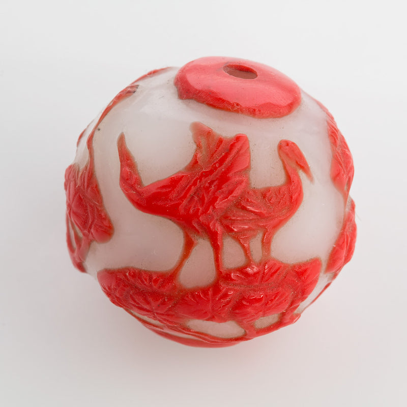 Hand carved bead red crane on milk white glass round 25mm pkg of 1. b1-686