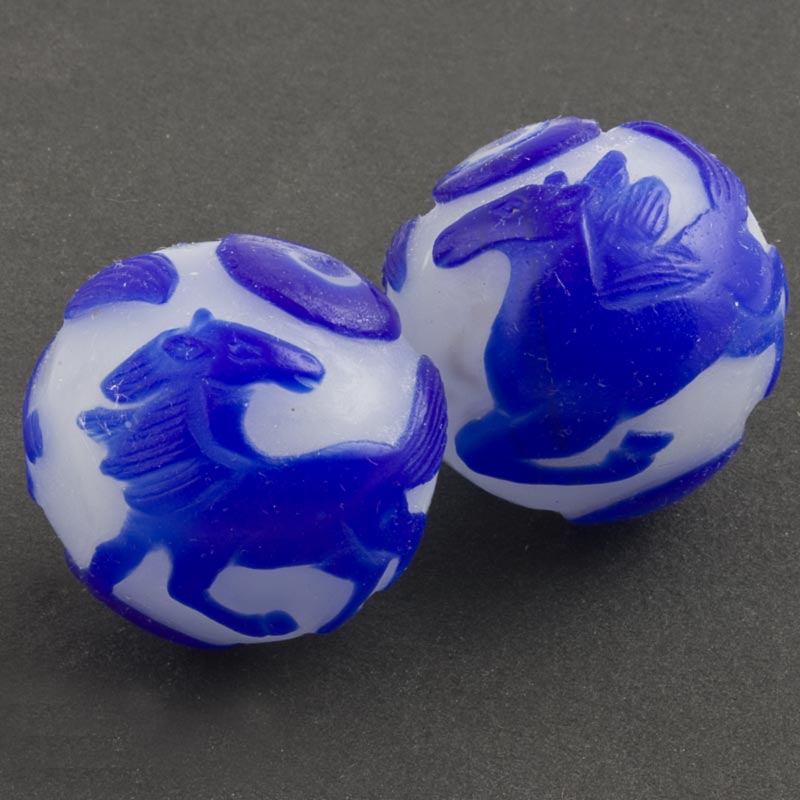 Hand carved bead cobalt blue horse on milk white glass round 28mm pkg of 1-b1-687