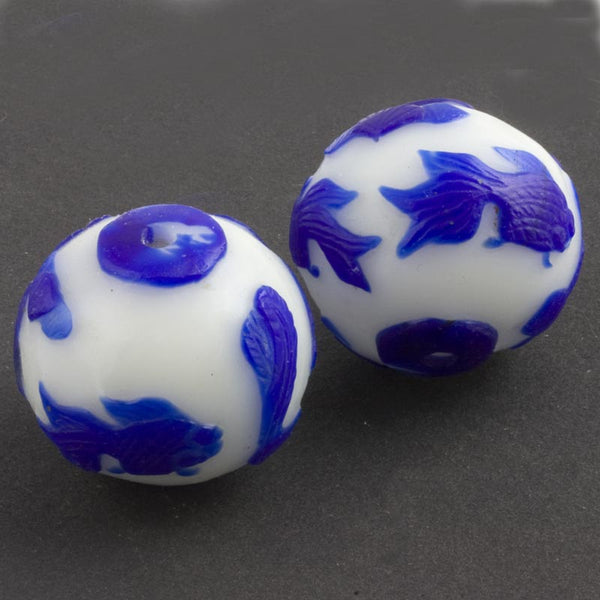 Hand carved bead cobalt blue goldfish on milk white glass round 28mm pkg of 1. b1-688(e)