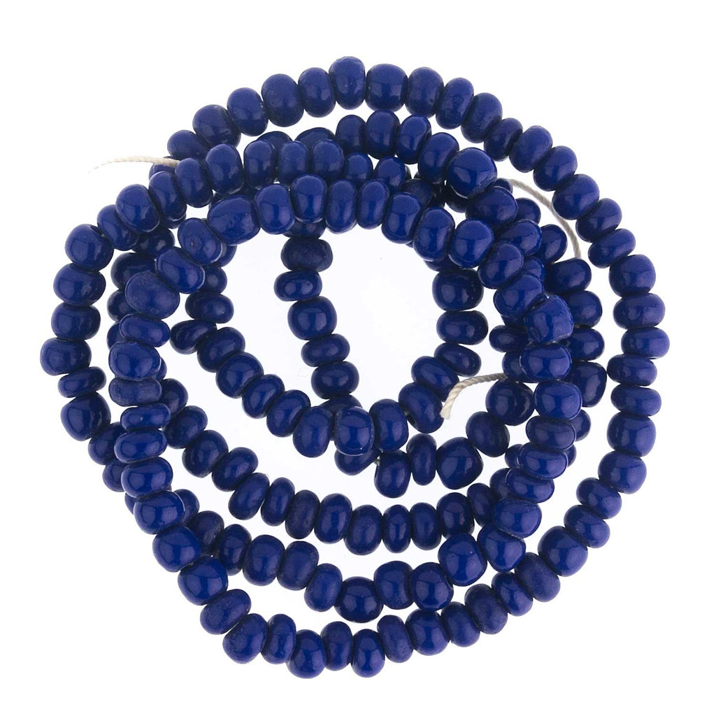 "Vintage Czech royal blue seed beads. Size 6. 14""-strand. b17-090(e)"