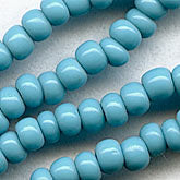 "b17-093-Vintage Czech size 9 opaque turquoise seed beads. 20""-strand. @7.2-gr. bag"