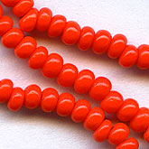 Chinese red size 6 seed beads vintage Czech 1940s. @7.2-gr. bag. b17-095(e)