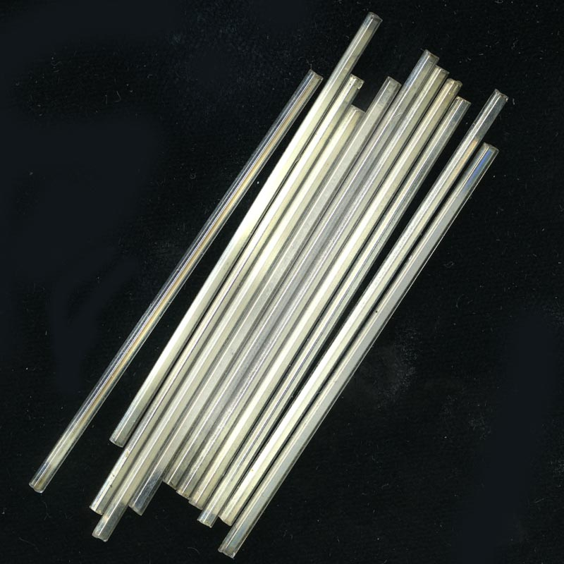 Silver lined clear antique Venetian needle bugles 60mm.  Pkg. of 10. b17-135