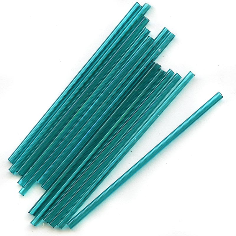 b17-136-Antique Venetian transparent teal needle bugles 60mm. pkg of 10