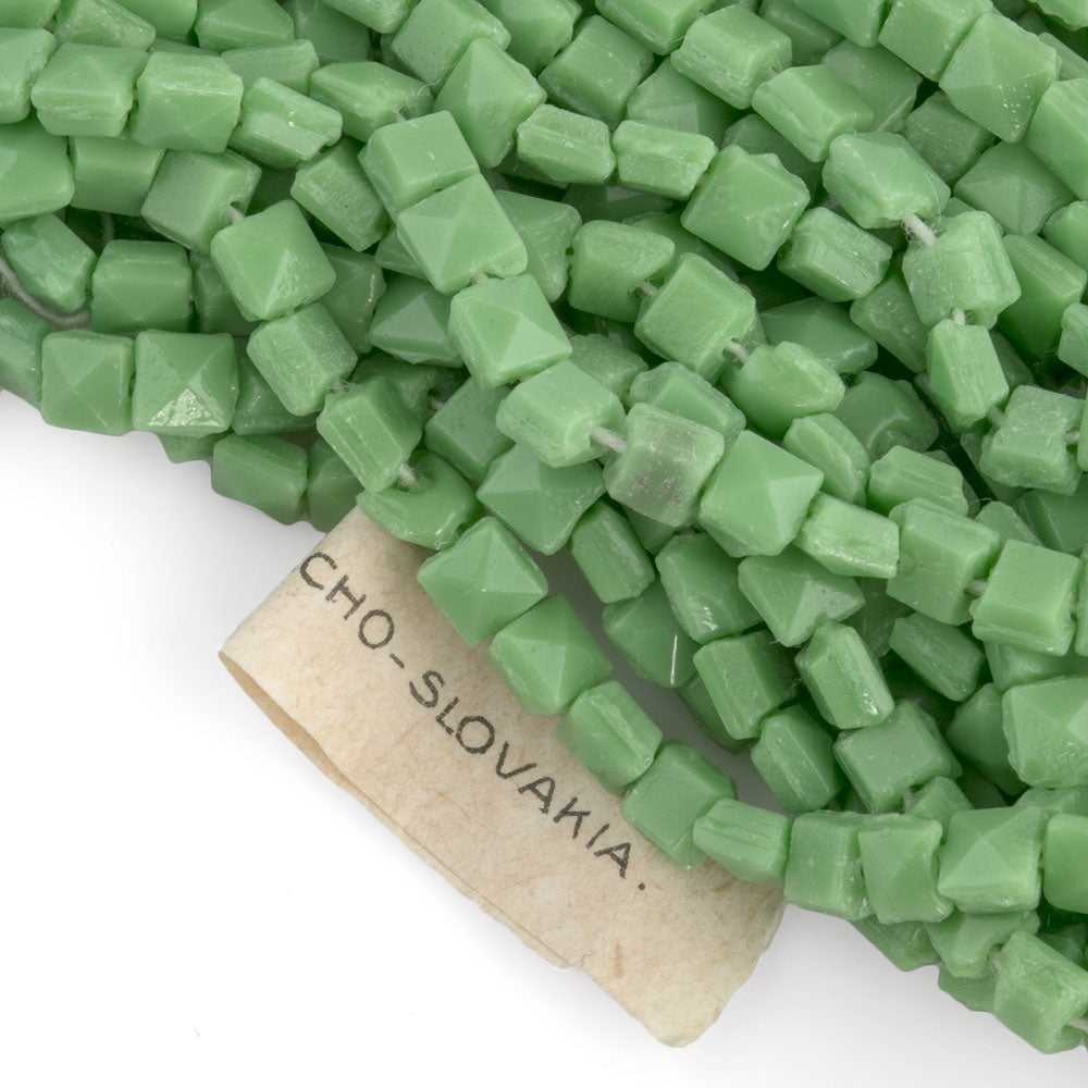 Vintage Czech green flat square nailheads. 4mm Rare! Strand of 25-b17-073(e)