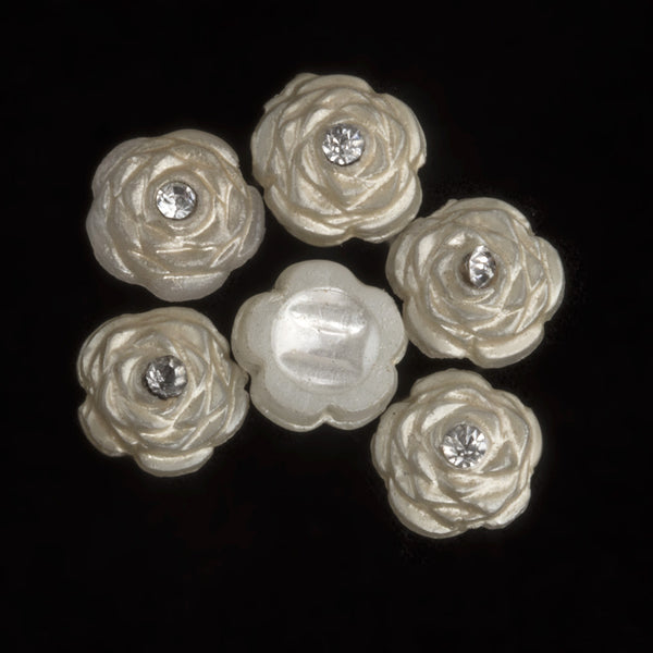 b17-255- Vintage 1930s plastic pearlized nailhead flowers with