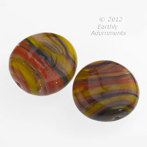 Contemporary lampwork disk made from old German and Italian glass