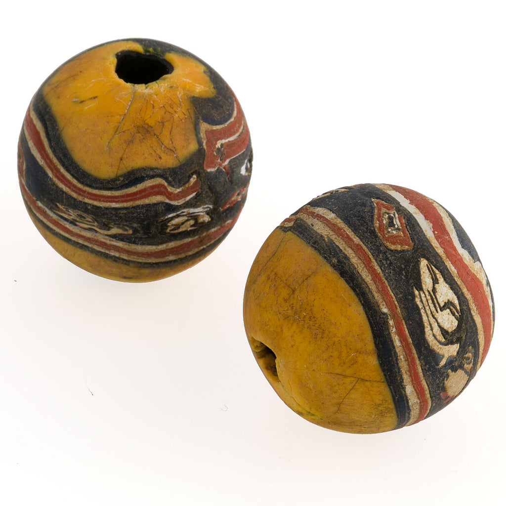 Ancient Indonesian Jatim bead replica. 19mm average size. Sold individually. b1-771