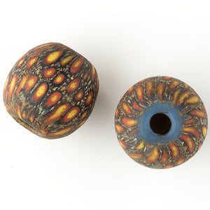 Ancient Indonesian Jatim bead replica. 19mm average size pkg of 1 b1-887