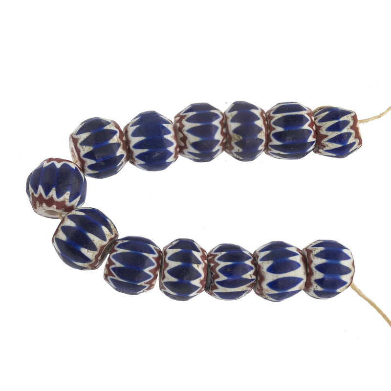 Strand of 13 antique Venetian glass cobalt 4-layer chevron beads. b1-782cs