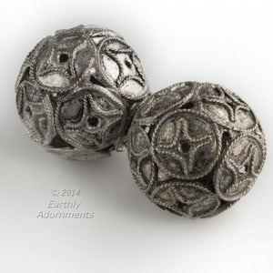 Silver over copper bead in Chinese coin design. 16mm. Sold individually. b18-437