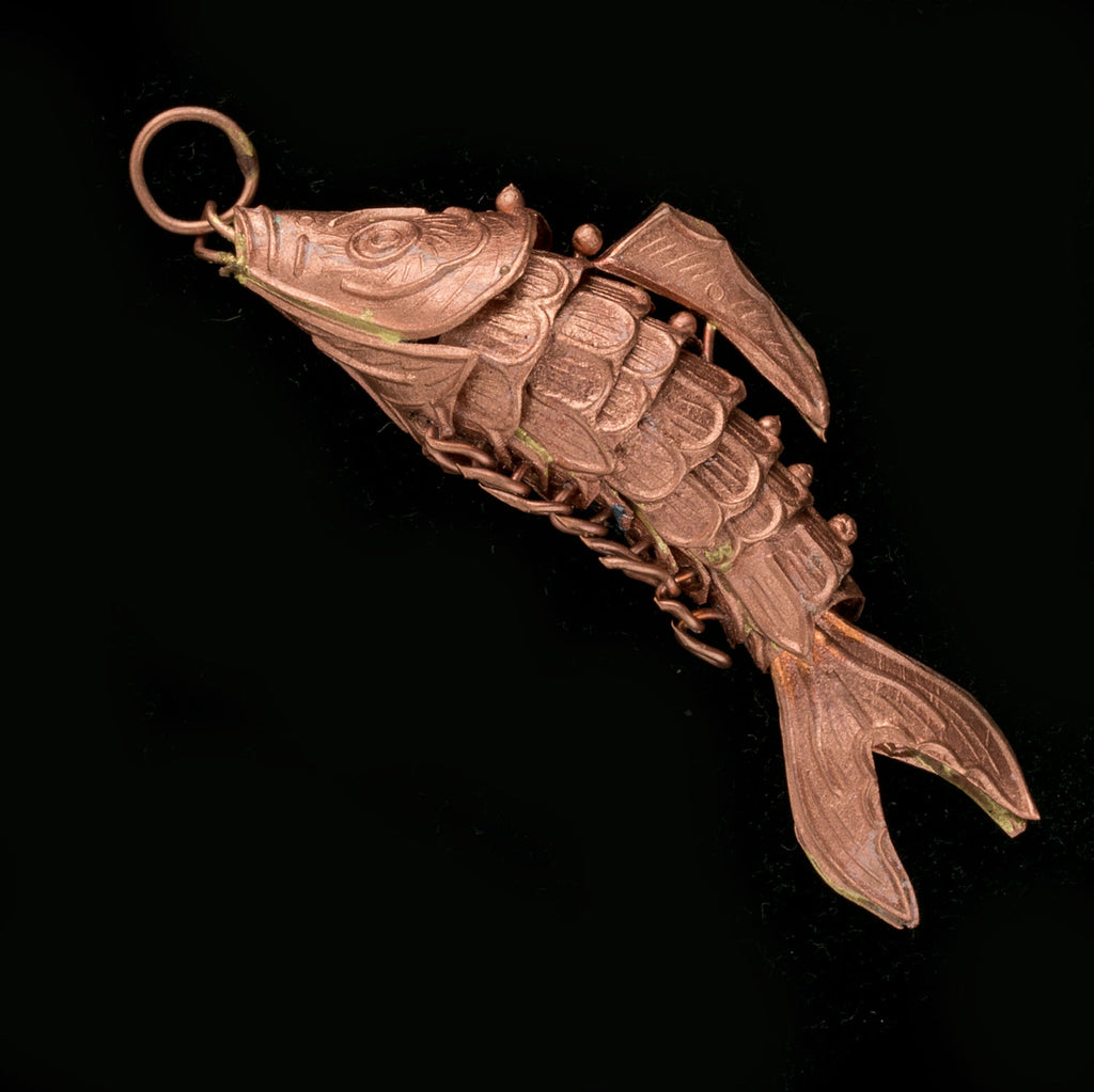 "b18-0114-2-articulated copper fish pendant. 2"". Pkg of 1"