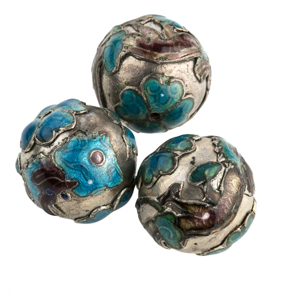 Silver-on-copper dragon design bead. 18mm. Pkg of 1. b18-0115(e)