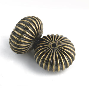 Vintage antiqued solid brass corrugated squat fluted hollow melon beads. 13x22mm. Pkg  2. b18-0125e