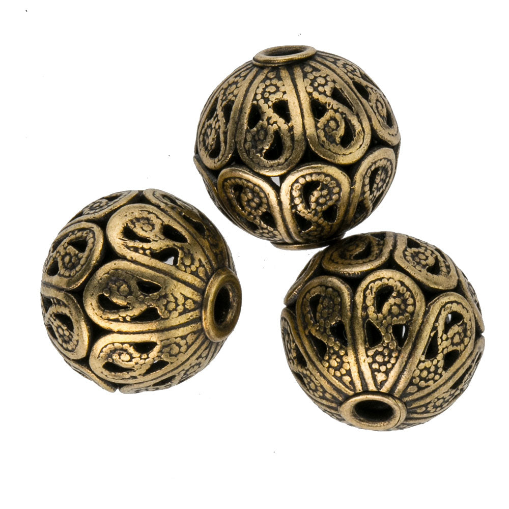 b18-0135- Super high quality solid brass filigree bead. 10x11mm. Pkg of 1