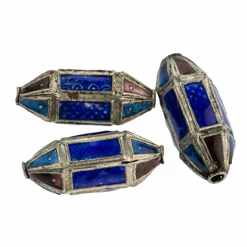 Silver plated enamel panel lantern bead. 25mm. Pkg of 1. b18-0167(e)