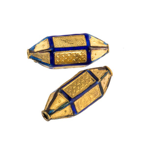 Gold and blue enamel panel lantern bead with decorative stampings. 25mm. Pkg of 1. b18-0168