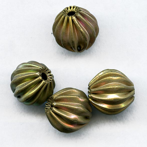 Vintage brass melon bead. 8mm. Pkg of 10. b18-0171-3(e)