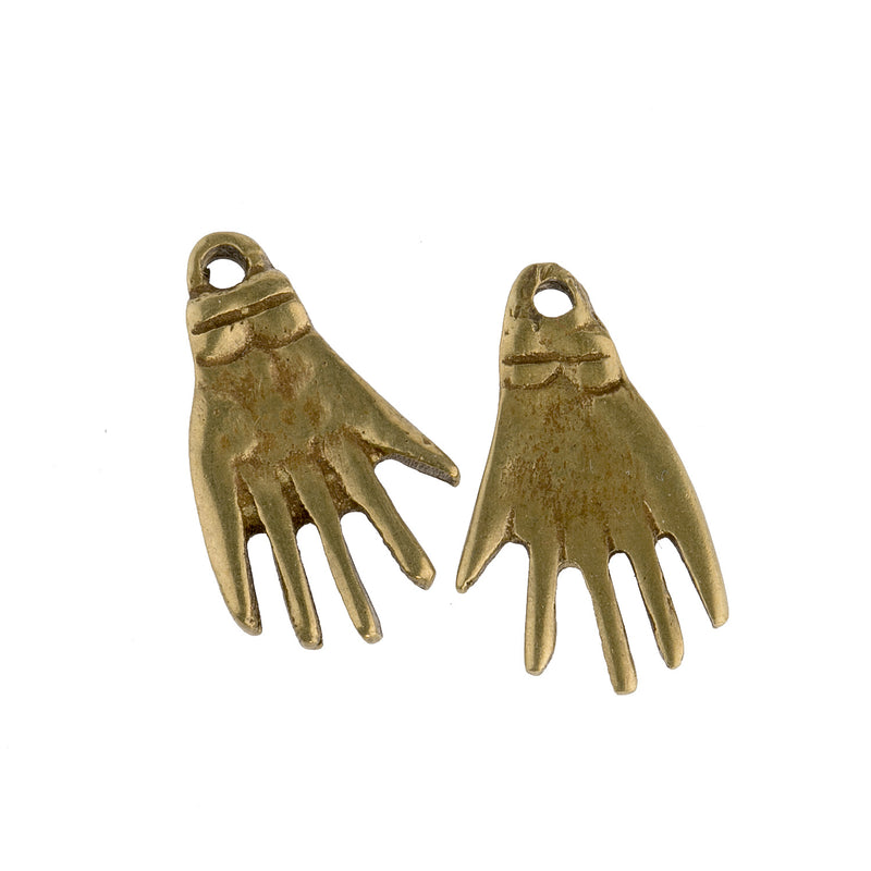 Brass hand pendant. 23x14x2mm. India Pkg of 2. b18-0207