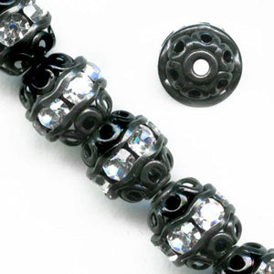 Oxidized filigree beads with Austrian crystals, 6mm. Pkg of 2. b18-0231(e)