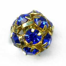 8mm gold metal/blue crystal balls. 8mm. Pkg of 2. b18-0232-8