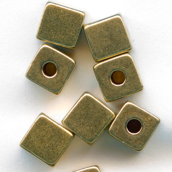 b18-0236- Great looking solid brass cubes, 4mm.  Pkg of 15.