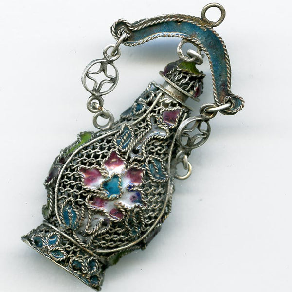 Filigree pomander vase pendant, enamel and silver over copper 55x25mm. B18-0250(e)